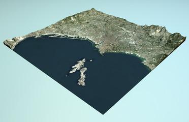 Vista satellitare di Marsiglia, Francia, mappa, sezione 3d