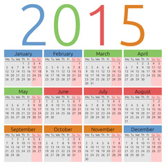 Vector calendar 2015, colors for seasons
