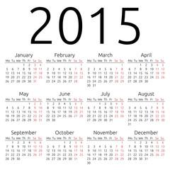 Simple vector calendar 2015