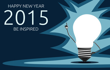 Greeting card with light bulb character, 2015 year