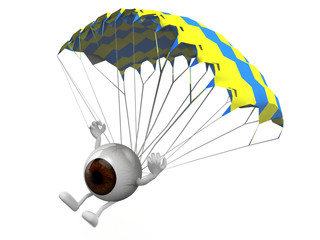 eyeball that is landing with parachute