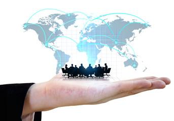 Businessman showing global team meeting