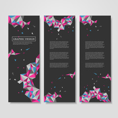geometric colorful triangles design for banners set