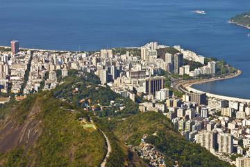 Rio de Janeiro aerial view with favela on the mountain