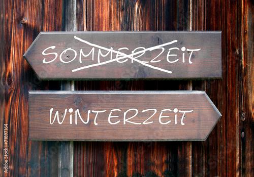 canvas print picture Strassenschild 28 - Winterzeit