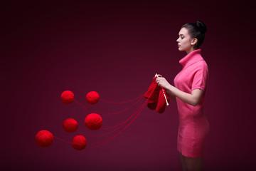 Knitting girl
