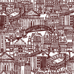 Sketch city seamless pattern