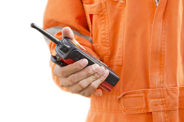 isolated on white background.Portable walkie-talkie