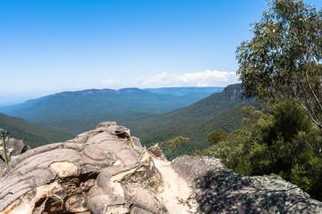 Rocky Ledge Blue Blue Mountains Rugged Terrain