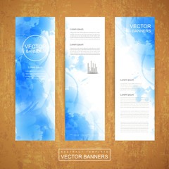 watercolor style background design for banners set