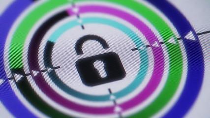 lock icon on screen. Looping.