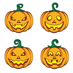 Halloween cartoon pumpkin jack lantern.