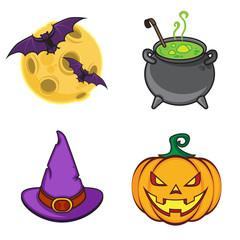 Halloween cartoon icon objects.