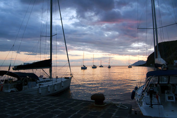 Sailing boats and sunset