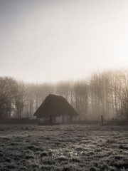 Heavy fog sunrise old-fashioned pigsty cottage