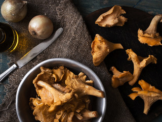 Chanterelle mushrooms in a dish on the table