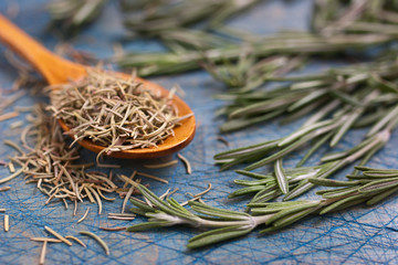 Rosemary on a blue table