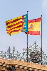 Bandera española y de la Comunidad Valenciana. España