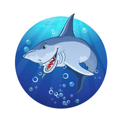 Illustration of an evil shark