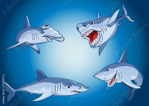 Set of scary sharks in cartoon style