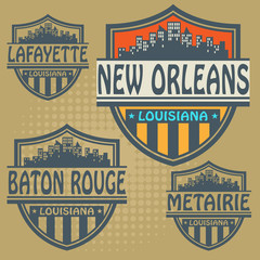 Label set with names of Louisiana cities