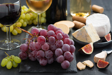 snacks - grapes, cheese and wine