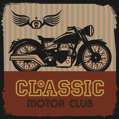 Vintage Motorcycle label, vector illustration