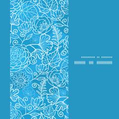 Vector blue field floral texture vertical frame seamless pattern