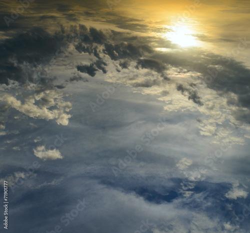 canvas print picture Wolkenhintergrund mit Sonne