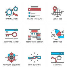 Search engine optimization line icons set