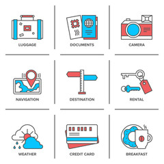 Vacation items line icons set