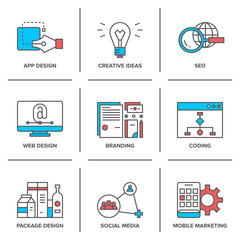 Web design and mobile marketing line icons set