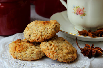 Homemade oatmeal cookies and a cup of tea.