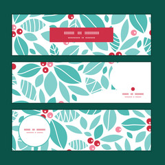 Vector christmas holly berries horizontal banners set pattern