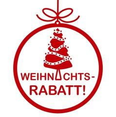 """""""Weihnachtsrabatt"""" Tafel Hinfweis Schild weiß rot"""
