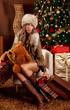 Beautiful woman tired of Christmas shopping