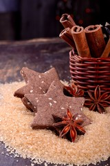 Christmas chocolate cookies with sesame seeds still life