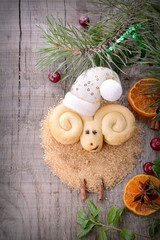 Christmas cookies in the shape of a lamb