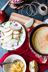 apple tart with pear jam and caramel