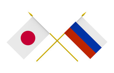 Flags, Japan and Russia
