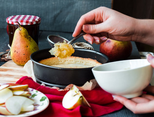 the process of making apple tart with pear jam