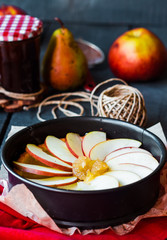 process of making apple tart with pear jam and caramel