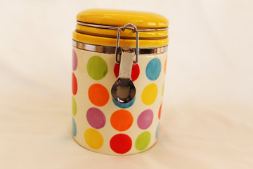 Color coffee container with coffee