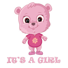 Baby girl shower card with cute bear
