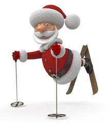 3d Santa Claus on skis