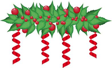 Christmas holly garland vector