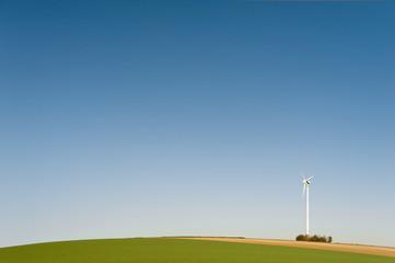 Ein Windkraftrad auf einem Hügel vor blauem Himmel