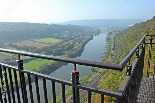 Leinwandbild Motiv Liebesschlösser am Weser-Skywalk