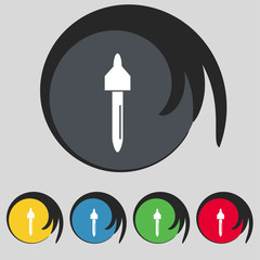 dropper sign icon. pipette symbol. Set of colored buttons.