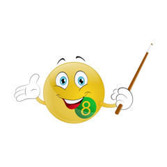 Smiley  billiard ball with cue